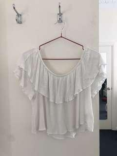 Off shoulder white crop