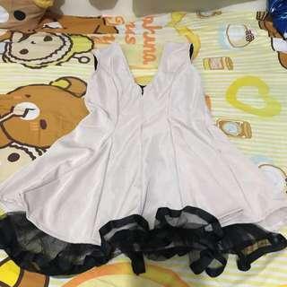 Ladies white black lace dress evening gown 女裝米白色黑色喱士連身裙