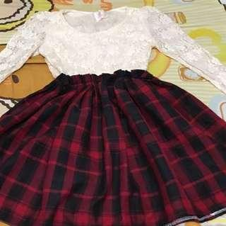 Ladies red black grid dress with laces 女裝白色喱士紅黑裙仔連身裙