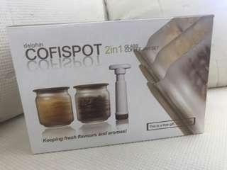 Delphin Cofispot 2 in 1 glass coffee jar set