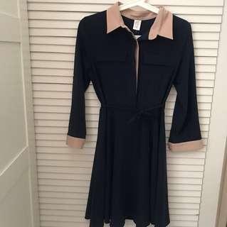 深藍色連身裙made in Korea
