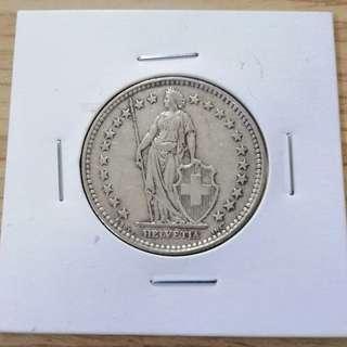 🚚 瑞士1931年赫爾維蒂婭2法郎銀幣 少見年分 UNC 保真
