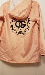 BABY PINK OBEY wind breaker / rain jacket