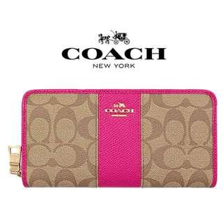 Coach 52859 SIGNATURE CANVAS WITH LEATHER ACCORDION ZIP WALLET