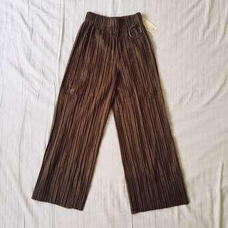 BROWN PLEATED RING CULOTTES
