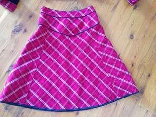 XS Red Tartan Patterned Skirt