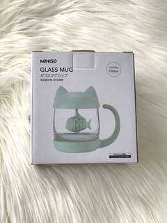 BRAND NEW MINISO GKASS FISH FILTER CUTE CUP MUG