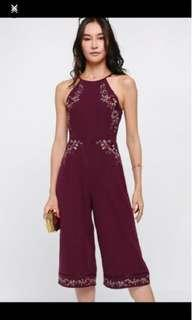Love Bonito quela embroidery jumpsuit in wine red