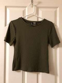 Olive Green Ribber T Shirt