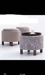 2-in-1 convertible side table & storage ottoman