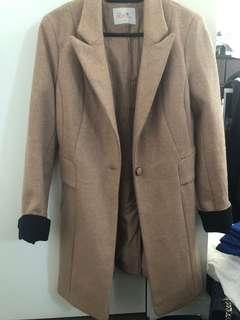 Beige slim fit coat