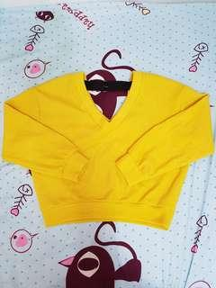 Bershka yellow knitwear . Vneck Knitted top