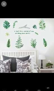 Nordic ins style bedroom background wall sticker Nordic green leaf cartoon wall sticker