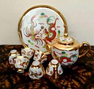 Golden Dragon/ Phoenix  Wedding Tea Set
