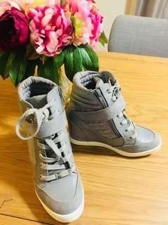 Forever New Grey Wedge Sneakers Size 6