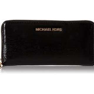 Michael Kors Jet Set Patent Black Wallet #MAF40