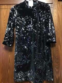 🚚 黑色亮片改良式旗袍