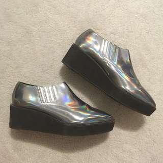 Urban Outfitters pointy holographic creepers