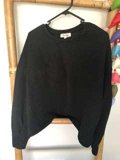 Black Long Sleeve Ribbed Going Out Top Size 12