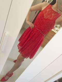 STYLESTALKER sexy red lace one piece party dress size S 性感蕾絲連身裙