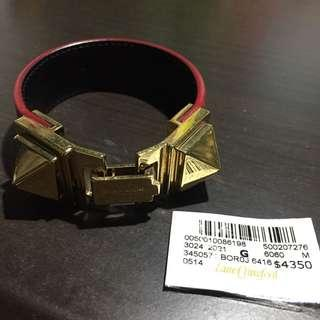 $700 Saint Laurent gold studs red leather bracelet 紅色皮金色鍋釘手帶