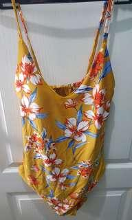 Yellow Floral One Piece Bathing Suit