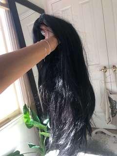 "26"" black wig"