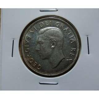 🚚 加拿大1952年喬治六世50分(cent)銀幣 UNC 原光 邊帶金紅包漿 保真