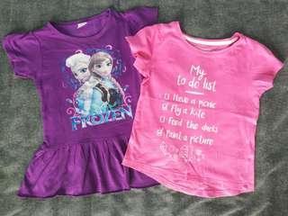Girls 4-5yo t-shirt pink purple Frozen bundle #h&m50
