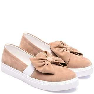 Just Bow Beige Slip-On Sneakers