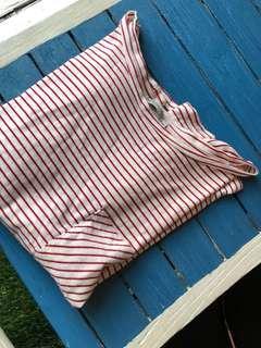 🚚 zara百搭紅白條紋口袋短袖T恤S
