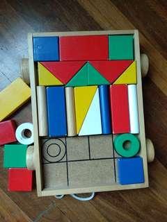 Wooden blocks and shape sorter
