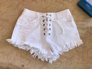 Lace Up White Denim Shorts