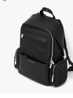 Charles and Keith black leather backpack