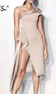 Elegant one shoulder midi split dress