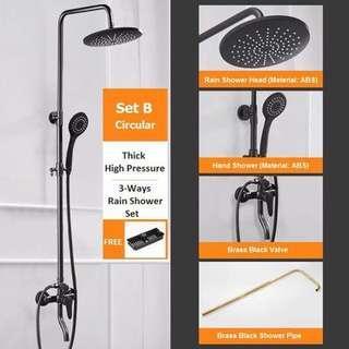 Brass Black Bathroom Rain Shower Set (Circular)