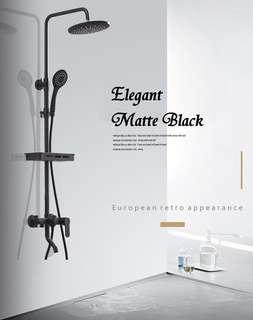 Brass Black Rain Shower Set (Free shampoo tray)