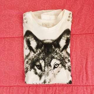 Forever21 Wolf Print Muscle Top w/ Spikes