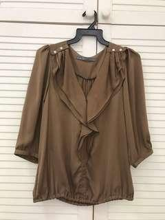 Brown long sleeve soft top