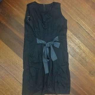 Black Dress with Grey Ribbon