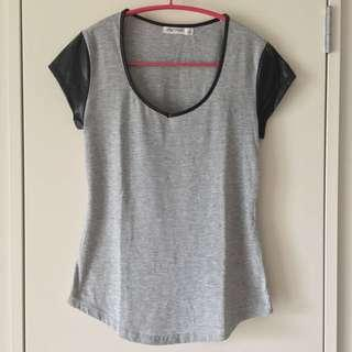 Faux Leather Sleeve Short-Sleeve Grey And Black Tshirt Size S
