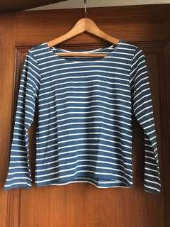 BNWOT Striped Blue n White Nautical Cropped 3/4-sleeve Top