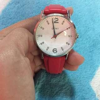 DKNY Red Rubber Watch