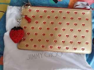 [QYOP] Jimmy Choo Gold & Red Clutch + Accessory Authentic