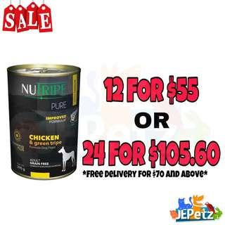 Nutripe Pure Chicken & Green Tripe Canned Dog Food 390g