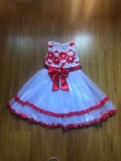 Girl red & white party dinner dress