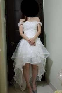 全新前短後長輕婚紗,可拆肩帶