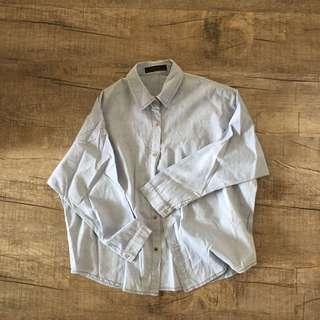 Sky Blue Denim-Lookalike Shirt