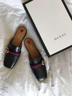 GUCCI Peyton Backless Leather Loafers Slippers Sz 39.5