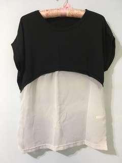 簡約韓版寬鬆上衣,黑色拼接薄紗透膚短袖上衣